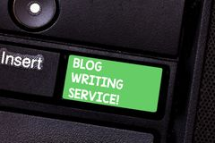 Text sign showing Blog Writing Service. Conceptual photo Creates highquality blog content for a business Keyboard key. Intention to create computer message royalty free stock image