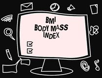 Text sign showing Bmi Body Mass Index. Conceptual photo body fat based on weight and weight measurement.  vector illustration