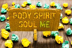 Text sign showing Body Spirit Soul Me. Conceptual photo Personal Balance Therapy Conciousness state of mind Paperclip grip cardboa royalty free stock images