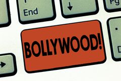 Text sign showing Bollywood. Conceptual photo Indian popular film movies industry Mumbai Cinematography.  stock images