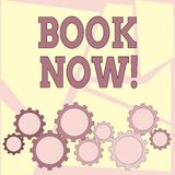 Text sign showing Book Now. Conceptual photo Make a reservation in hotel flight accommodation. Text sign showing Book Now. Business photo showcasing Make a stock photo