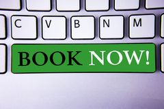 Text sign showing Book Now Motivational Call. Conceptual photo Make a reservation in hotel flight accommodation. Concept For Infor. Text sign showing Book Now Royalty Free Stock Photography