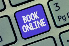 Text sign showing Book Online. Conceptual photo Reserve accommodations plane tickets events over the internet.  royalty free stock photography