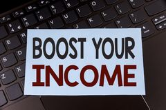 Text sign showing Boost Your Income. Conceptual photo improve your payment Freelancing Part time job Improve written on Sticky Not. Text sign showing Boost Your Royalty Free Stock Images
