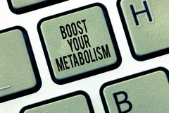 Text sign showing Boost Your Metabolism. Conceptual photo Increase the efficiency in burning body fats.  stock photo