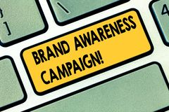 Text sign showing Brand Awareness Campaign. Conceptual photo How aware consumers are with your products Keyboard key Intention to. Create computer message royalty free stock image