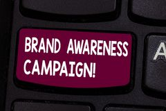 Text sign showing Brand Awareness Campaign. Conceptual photo How aware consumers are with your products Keyboard key. Intention to create computer message royalty free stock image