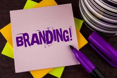 Text sign showing Branding Motivational Call. Conceptual photo Creating a unique identity for new startup agencies written on Stic. Text sign showing Branding Royalty Free Stock Photos