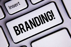 Text sign showing Branding Motivational Call. Conceptual photo Creating a unique identity for new startup agencies written on Whit. Text sign showing Branding Royalty Free Stock Photography
