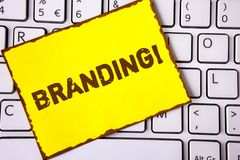 Text sign showing Branding Motivational Call. Conceptual photo Creating a unique identity for new startup agencies written on Yell. Text sign showing Branding Stock Images