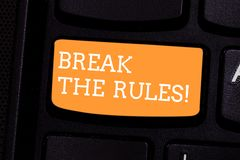 Text sign showing Break The Rules. Conceptual photo Make changes do everything different Rebellion Reform Keyboard key stock image