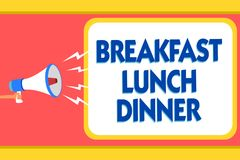 Text sign showing Breakfast Lunch Dinner. Conceptual photo eating your meals at different period of day Message warning signals so vector illustration