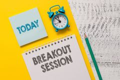 Text sign showing Breakout Session. Conceptual photo workshop discussion or presentation on specific topic Spiral. Text sign showing Breakout Session. Business stock photography