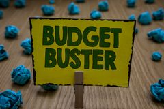 Text sign showing Budget Buster. Conceptual photo Carefree Spending Bargains Unnecessary Purchases Overspending Clothespin holding royalty free stock photography