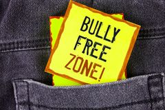Text sign showing Bully Free Zone Motivational Call. Conceptual photo creating abuse free school college life written on Yellow St stock photo