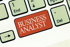 Text sign showing Business Analyst. Conceptual photo someone who analyzes big organization or website domain.  stock image