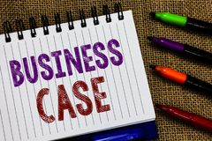 Text sign showing Business Case. Conceptual photo Proposition Undertaking Verbal Presentation New Task Open spiral notebook page j. Ute background colorful royalty free stock photo