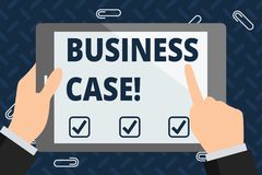 Text sign showing Business Case. Conceptual photo provides justification for undertaking a project or program. Text sign showing Business Case. Business photo stock illustration