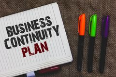 Text sign showing Business Continuity Plan. Conceptual photo creating systems prevention deal potential threats Open notebook page. Jute background colorful stock image