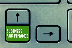 Text sign showing Business And Finance. Conceptual photo Management of Asset Money and Fund of a company stock photography