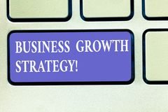 Text sign showing Business Growth Strategy. Conceptual photo Larger market share Market penetration Acquisition Keyboard key. Intention to create computer royalty free stock images