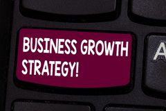 Text sign showing Business Growth Strategy. Conceptual photo Larger market share Market penetration Acquisition Keyboard key. Intention to create computer stock images
