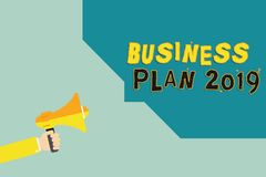 Text sign showing Business Plan 2019. Conceptual photo Challenging Business Ideas and Goals for New Year.  royalty free illustration