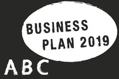 Text sign showing Business Plan 2019. Conceptual photo Challenging Business Ideas and Goals for New Year.  stock illustration