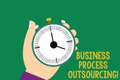 Text sign showing Business Process Outsourcing. Conceptual photo Contracting work to external service provider Hu. Analysis Hand Holding Mechanical Stop Watch royalty free illustration