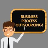 Text sign showing Business Process Outsourcing. Conceptual photo Contracting work to external service provider Man. Standing Holding Stick Pointing to Wall vector illustration