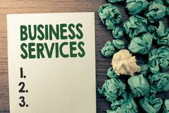 Text sign showing Business Services. Conceptual photo Provides intangible products Bookkeeping IT Accounting stock photography
