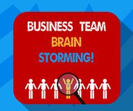 Text sign showing Business Team Brain Storming. Conceptual photo Team work corporate group working meeting Magnifying Glass Over vector illustration