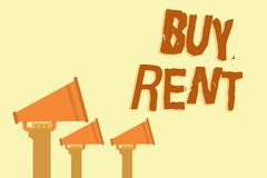 Text sign showing Buy Rent. Conceptual photo choosing between purchasing something or paying for usage Hands holding megaphones lo. Udspeakers important message stock illustration