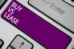 Text sign showing Buy Vs Lease. Conceptual photo Own something versus borrow it Advantages Disadvantages Keyboard purple key Inten. Tion create computer royalty free stock photos