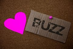 Text sign showing Buzz. Conceptual photo Hum Murmur Drone Fizz Ring Sibilation Whir Alarm Beep Chime Old damaged paperboard ideas. Message purple heart love stock photography