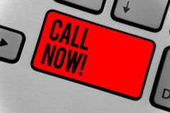 Text sign showing Call Now. Conceptual photo To immediately contact a person using telecom devices with accuracy Keyboard red key. Intention create computer royalty free stock images