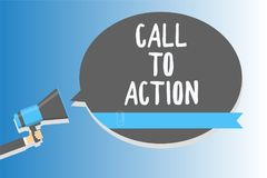 Text sign showing Call To Action. Conceptual photo Encourage Decision Move to advance Successful strategy Man holding megaphone lo. Udspeaker speech bubble stock illustration