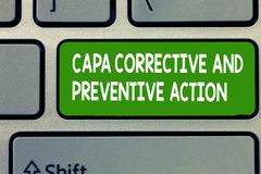 Text sign showing Capa Corrective And Preventive Action. Conceptual photo Elimination of nonconformities.  royalty free stock photography
