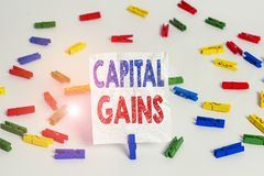 Text sign showing Capital Gains. Conceptual photo Bonds Shares Stocks Profit Income Tax Investment Funds Colored