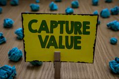 Text sign showing Capture Value. Conceptual photo Customer Relationship Satisfy Needs Brand Strength Retention Clothespin holding. Yellow paper note crumpled stock photos