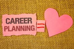 Text sign showing Career Planning. Conceptual photo Professional Development Educational Strategy Job Growth Text pink torn note e. Quals is pink heart love royalty free stock image