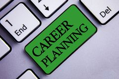 Text sign showing Career Planning. Conceptual photo Professional Development Educational Strategy Job Growth Text two words green. Insert button key press grey royalty free stock photography