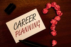 Text sign showing Career Planning. Conceptual photo Professional Development Educational Strategy Job Growth Text white paper note. Black marker open cap pink royalty free stock image