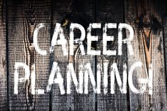 Text sign showing Career Planning. Conceptual photo Professional Development Educational Strategy Job Growth Wooden. Text sign showing Career Planning. Business royalty free stock photography