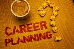 Text sign showing Career Planning. Conceptual photo Professional Development Educational Strategy Job Growth Words written Desk Co. Ffee White mug crumbled paper stock photos