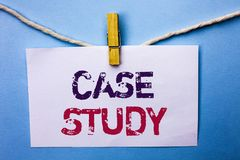 Text sign showing Case Study. Conceptual photo Research Information Analysis Observe Learn Discuss Criteria written on White Note. Text sign showing Case Study Stock Photo
