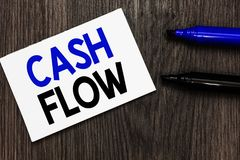 Text sign showing Cash Flow. Conceptual photo Movement of the money in and out affecting the liquidity Important idea ideas notebo. Ok marker markers wooden royalty free stock image