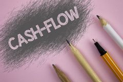 Text sign showing Cash-Flow. Conceptual photo Virtual movement of money by company finance department statistics written on Pink b. Text sign showing Cash-Flow Royalty Free Stock Photography