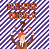 Text sign showing Challenge Yourself. Conceptual photo Overcome Confidence Strong Encouragement Improvement Dare. Text sign showing Challenge Yourself. Business stock illustration