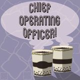 Text sign showing Chief Operating Officer. Conceptual photo responsible for the daily operation of the company Two To Go Cup with. Beverage and Steam icon Blank vector illustration